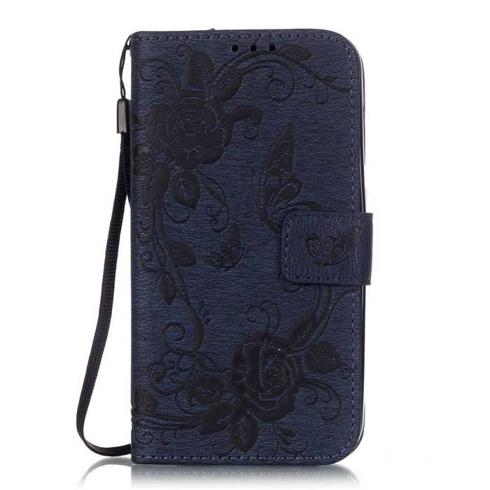 BLCR Butterfly Pattern PU + TPU Wallet Case for Huawei Y625 -Deep Blue