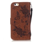 "BLCR Butterfly Pattern Wallet Case for 5.5"" IPHONE 6 Plus - Brown"
