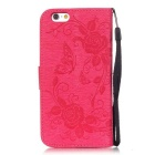 "BLCR Butterfly Pattern Wallet Case for 5.5"" IPHONE 6 Plus - Deep Pink"