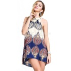 Women's Sexy Summer Boho Halter Neck Chiffon Beach Dress - Blue (M)