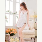 Sexy Deep V-Neck Halter Strap Sleeping Dress + Thong Suit