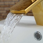 Modern Ti-PVD Finish Waterfall Bathroom Sink Faucet (Short) - Gold