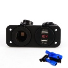 2-in-1 Cigarette Lighter Socket Power Outlet and Voltmeter Socket