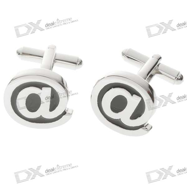 Plating White Steel Cufflinks for Men - E-Mail Symbol (Pair)