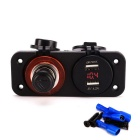 Multifunctional Dual USB Car Cigarette Lighter w/ Red Voltmeter