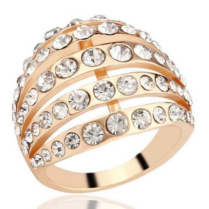 Fashion Exquisite Women's Arc Shaped 5-Row Ring - Gold + White