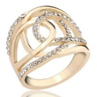 Simple Fashion Double C Modeling 18K Silvering Couple Ring - Gold