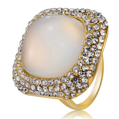 Xinguang Women's Simple Quadrate Finger Ring - Gold (US Size 6)