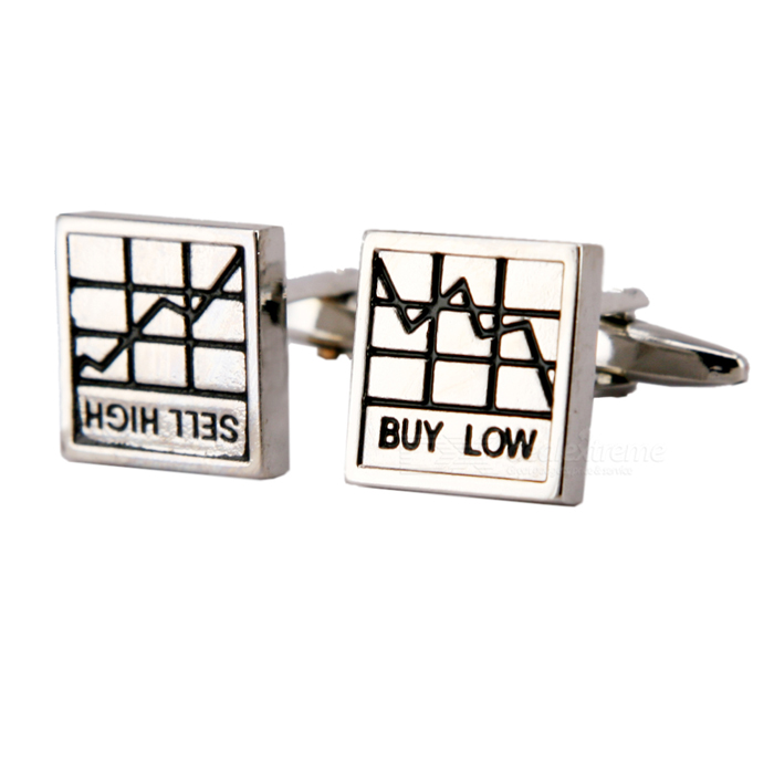 Plating White Steel Cufflinks for Men - Stock Chart (Pair)