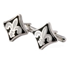 Plating White Steel Cufflinks for Men - RARE FLEUR DE LYS (Pair)
