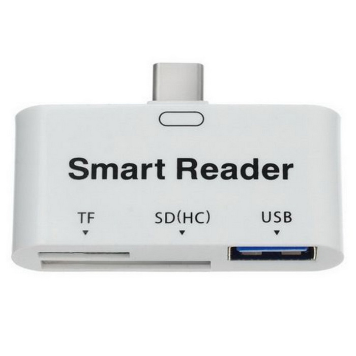 USB Type-C 3.1 to TF / SD Card Reader USB OTG Converter - WhiteUSB Gadgets<br>Form  ColorWhiteQuantity1 DX.PCM.Model.AttributeModel.UnitMaterialABSInterfaceUSB3.1 Type-C,USB 3.0,SD Card Slot,TF Card SlotSupports SystemWindows 10,Win xp,Win7 32,Win7 64,Win8 32,Win8 64,MAC OS X,IOS,Linux,Android 4.x,Android 5.x,Android 6.x,Android 7.xOther FeaturesCompatible w/ USB 2.0  1.2  1.0; Output port is USB 3.0; Suitable for OTG devices, such as HDD, mobile phone, USB flash drive.Packing List1 * Card reader1 * USB cable (80cm)<br>