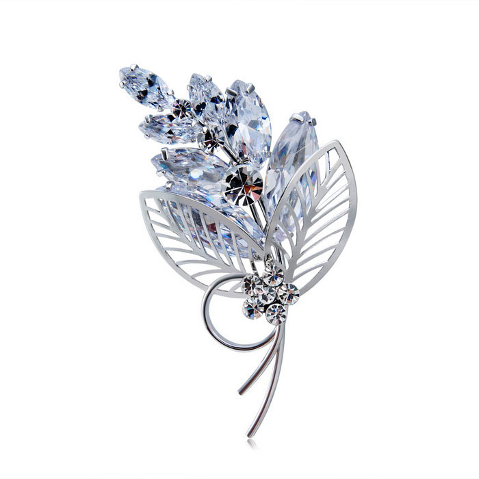 Xinguang Women's Super Flash Tulip Flower Style Brooch - Silver