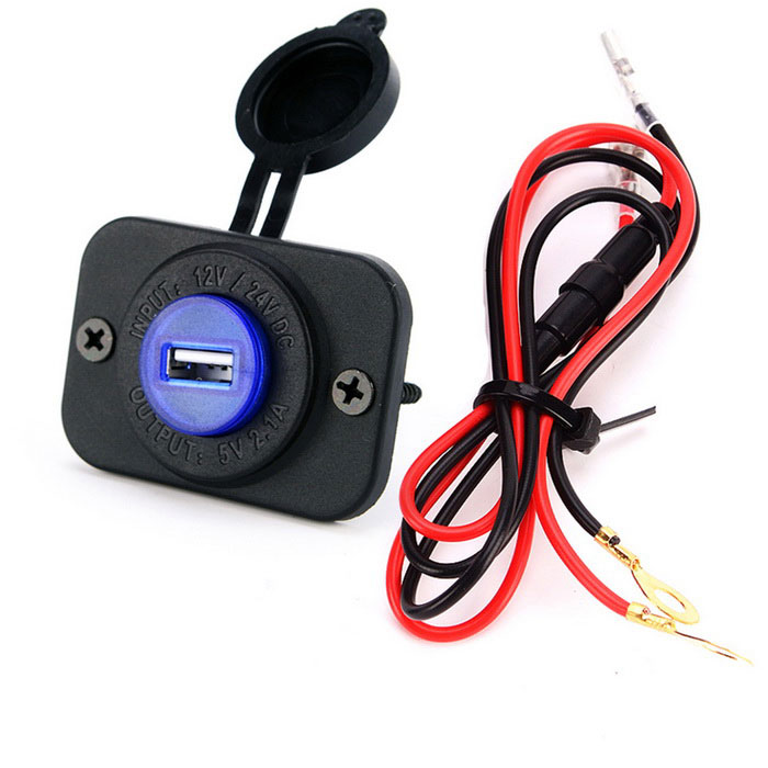 Single 5V 2.1A USB Car Charger Adapter Blue Light - Preto + Azul