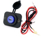Single 5V 2.1A USB Car Charger Adapter Blue Light - Black + Blue