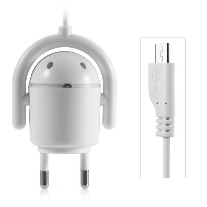 Creative Robot Design Micro USB Cable Wall Charger (EU Plug / 220V)