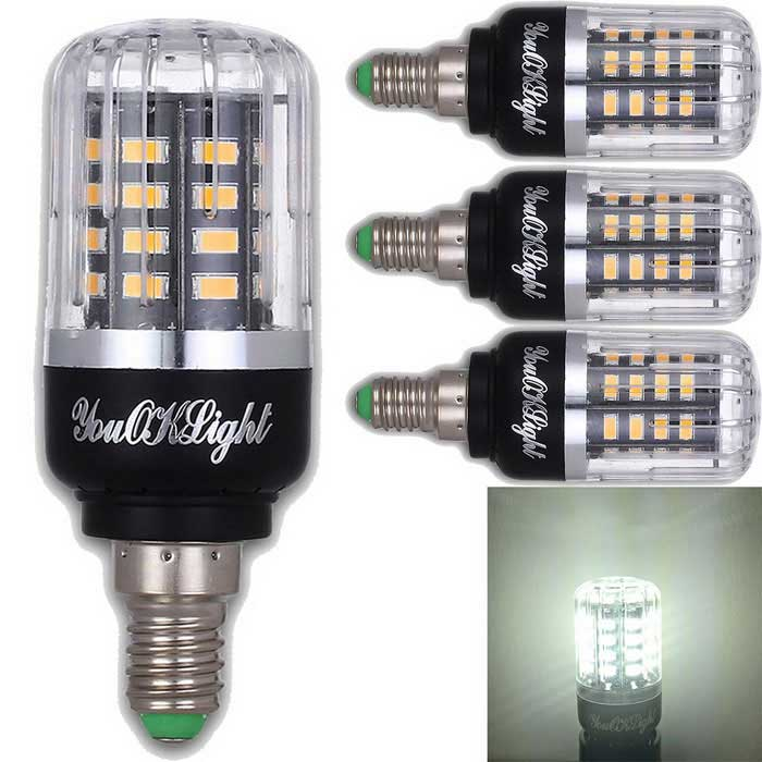 YouOKLight E14 3W 40 SMD-5736 LED Cold White Corn Bulbs (4Pcs)