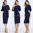 Women's Bodycon Fashion Casual Half-Sleeve Chiffon Dress - Blue (L)