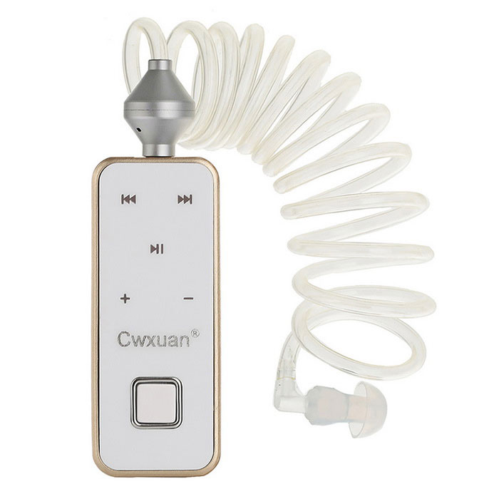 Cwxuan Bluetooth In-Ear Earphone w/ Vacuum Spiral Cable - Gold