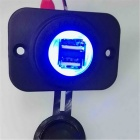 Dual USB Car Charger for All 12~24V Cars w/ Blue LED Display - Black