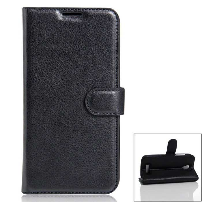 PU Leather Full Body Cases Cover w/ Card Slots for Doogee X3 - Black