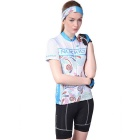 NUCKILY Summer Women's Short Sleeve Shorts Cycling Jersey - Blue (XL)