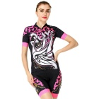 NUCKILY Swan Leopard Pattern Cycling Short-Sleeve Jersey + Short Pants