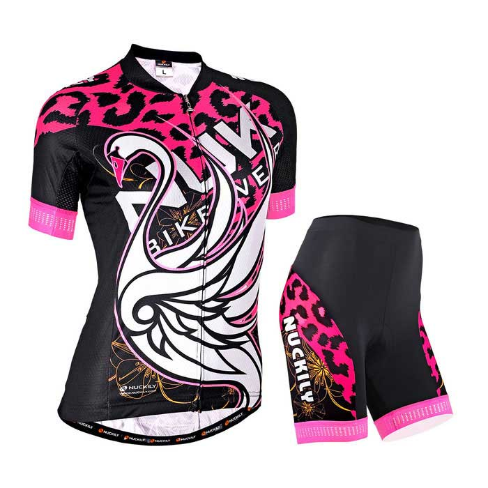 NUCKILY Swan Leopard Pattern Cycling Short-Sleeve Jersey + Short PantsForm  ColorPink + BlackSizeLModelGA009 GB009Quantity1 DX.PCM.Model.AttributeModel.UnitMaterial100%polyesterGenderWomensSeasonsSpring and SummerShoulder Width38.5 DX.PCM.Model.AttributeModel.UnitChest Girth93 DX.PCM.Model.AttributeModel.UnitSleeve Length31 DX.PCM.Model.AttributeModel.UnitTotal Length64 DX.PCM.Model.AttributeModel.UnitWaist66 DX.PCM.Model.AttributeModel.UnitTotal Length42 DX.PCM.Model.AttributeModel.UnitSuitable for Height160-165 DX.PCM.Model.AttributeModel.UnitBest UseCycling,Mountain Cycling,Recreational Cycling,Road Cycling,TriathlonSuitable forAdultsTypeShort Pants,Short JerseysPacking List1*set of bicycle clothing<br>