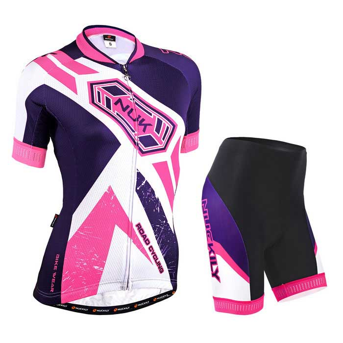 NUCKILY mulheres profissionais ciclismo camisas jersey + shorts - branco (m)