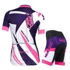 NUCKILY Professional Women Cycling Shirts Jersey + Shorts - White (L)