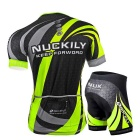 NUCKILY Men's Cycling Short-Sleeve Jersey + Short Pants - Green (XXXL)
