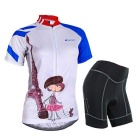 NUCKILY Cute Girl Pattern Cycling Short-Sleeve Jersey + Short Pants