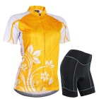 NUCKILY Cycling Short-Sleeve Jersey + Short Pants - Orange (XXL)
