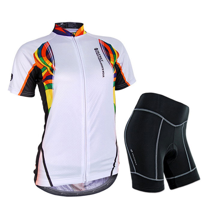 NUCKILY Cycling Short-Sleeve Jersey + Short Pants - White (M)