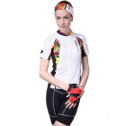 NUCKILY Cycling Short-Sleeve Jersey + Short Pants - White (XXL)