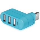 Mini 3-Port USB 2.0 HUB w/ Indicator Light - Blue