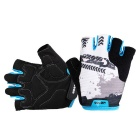 MOKE Outdoor Sweat-Absorbing Half-Finger Gloves - Blue (Size L)