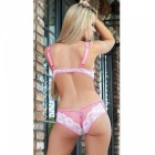 Estilo europeu Sexy Lace One-Piece Lingerie Underwear - Pink + White