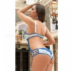 Europe Style Sexy Lace One-Piece Lingerie Underwear - Blue + White