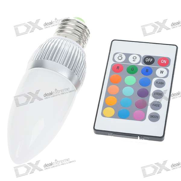 E27 3W SMD LED 16-Color Light Bulb with IR Remote Control (85~265V)