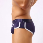 Leather Belt + Zipper Printed Cotton Men's Briefs  - Navy Blue (L)