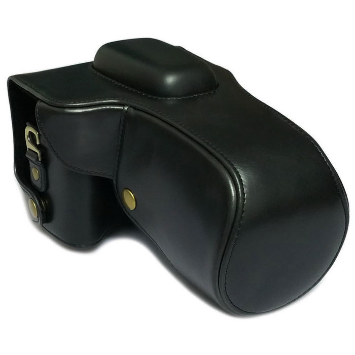 Caso PU Leather Camera Bag para Canon 100D - preto