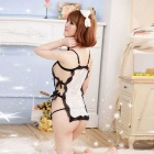 Europe Side Straps Transparent Lace Apron Fun Pajamas Lingerie