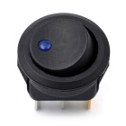 12V Round 3-pin Rocker Power Switches w/ Blue Light - Black (5PCS)