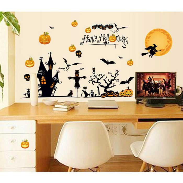 Diy 3d halloween decorative wall stickers wall art for Articulos decoracion halloween