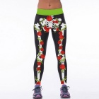 Europe / America Style Skeleton + Roses Pattern Personality Pants