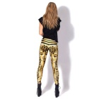 Cleopatra Image Printing European Style Pencil Feet Leggings - Gold