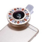 Smartphone Clip LED Ring Auxiliary Fill Light w/ Wide-angle Macro Lens