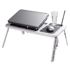 Adjustable Portable USB Folding Table for Laptop - White + Black