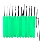 Stylish Lock Pick Locksmith Unlocking Tool Kit - Green + Black