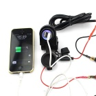 Dual USB 2.1A Port Motorcycle Chargeur w / Blue Light - Noir